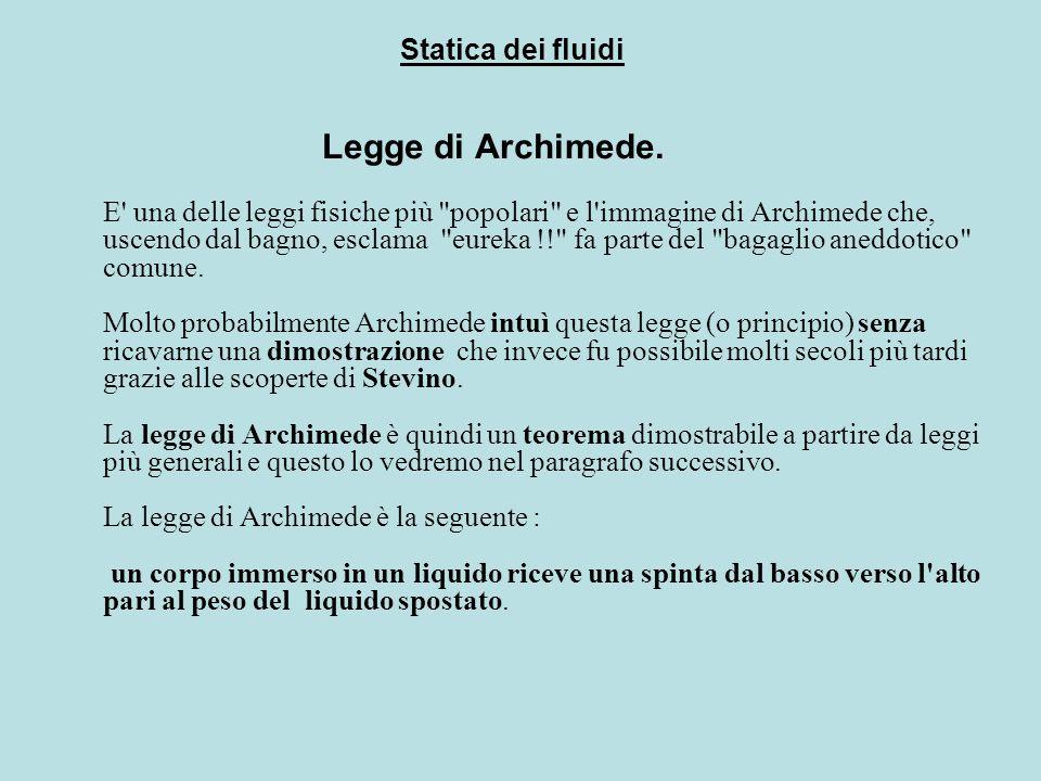 Legge di Archimede. E' una delle leggi fisiche più