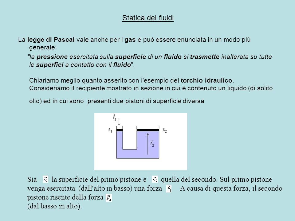 Statica dei fluidi La legge di Pascal vale anche per i gas e può essere enunciata in un modo più generale: