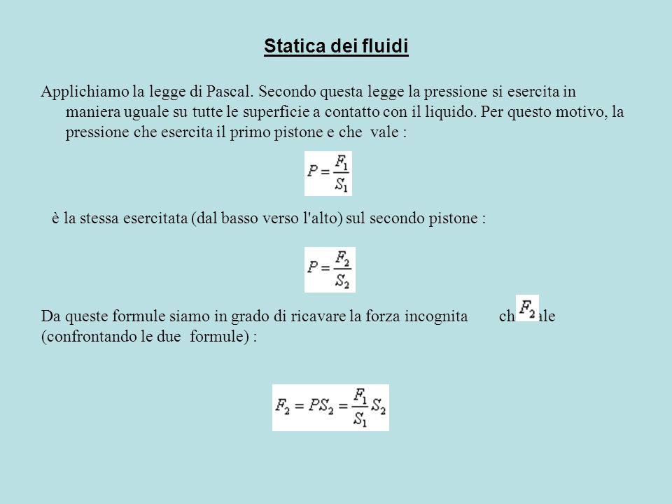 Statica dei fluidi Applichiamo la legge di Pascal. Secondo questa legge la pressione si esercita in maniera uguale su tutte le superficie a contatto c