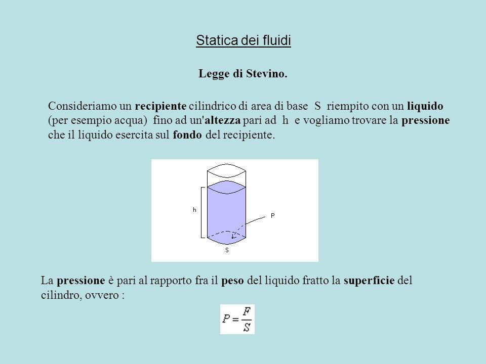 Statica dei fluidi Legge di Stevino. Consideriamo un recipiente cilindrico di area di base S riempito con un liquido (per esempio acqua) fino ad un'al