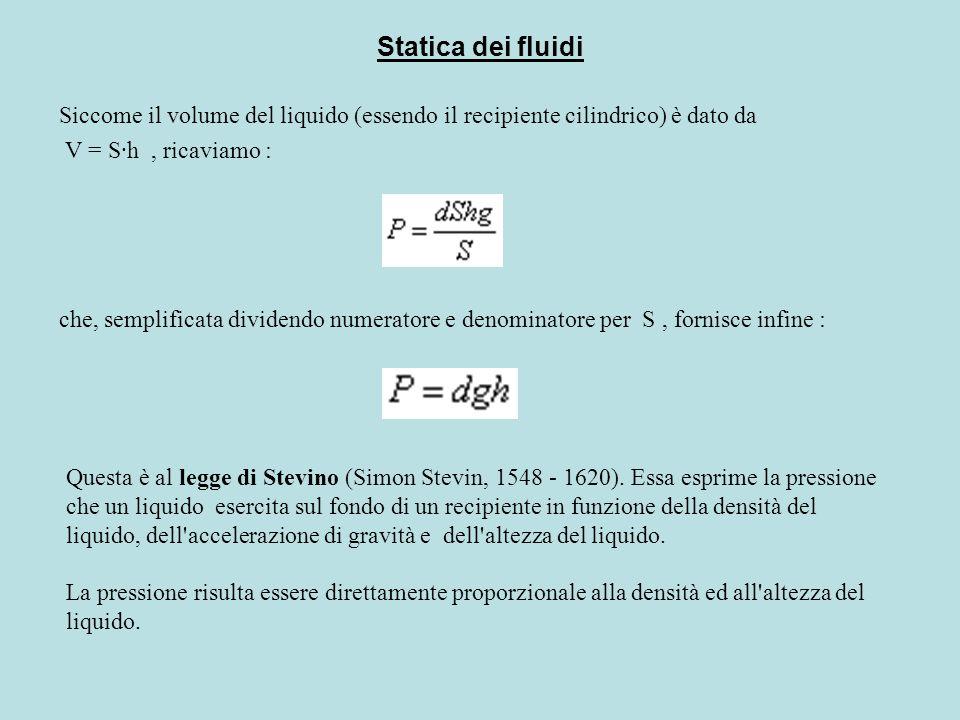 Statica dei fluidi Siccome il volume del liquido (essendo il recipiente cilindrico) è dato da V = S·h, ricaviamo : che, semplificata dividendo numerat