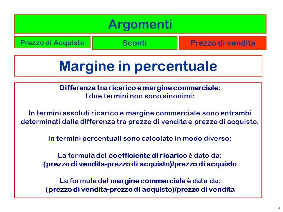 34 Margine in percentuale Argomenti Prezzo di Acquisto ScontiPrezzo di vendita Differenza tra ricarico e margine commerciale: I due termini non sono s
