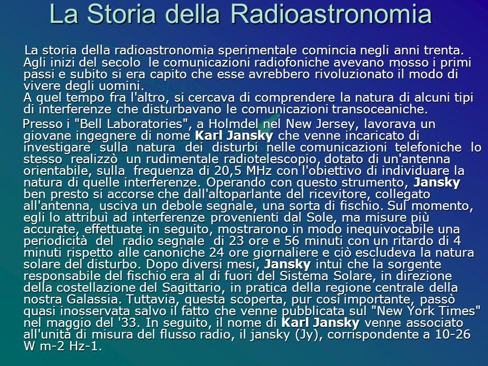 La Storia della Radioastronomia La storia della radioastronomia sperimentale comincia negli anni trenta. Agli inizi del secolo le comunicazioni radiof
