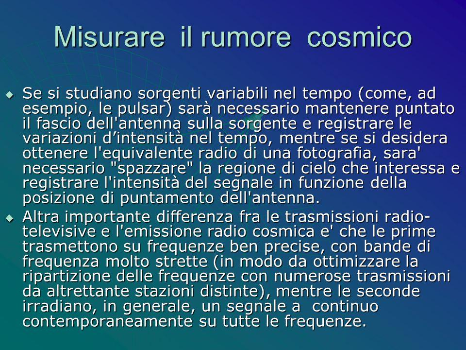 Misurare il rumore cosmico Se si studiano sorgenti variabili nel tempo (come, ad esempio, le pulsar) sarà necessario mantenere puntato il fascio dell'