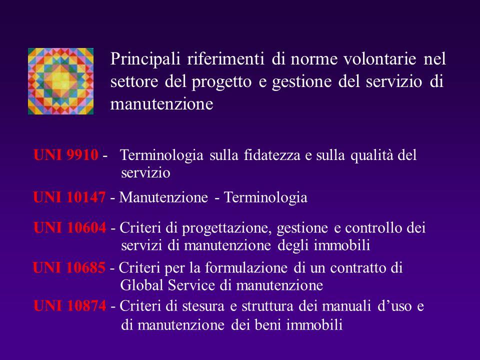UNI 10147 - Manutenzione - Terminologia UNI 10604 - Criteri di progettazione, gestione e controllo dei servizi di manutenzione degli immobili UNI 1068