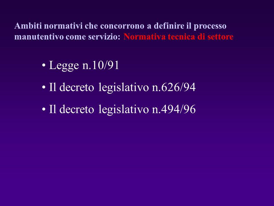 Legge n.10/91 Il decreto legislativo n.626/94 Il decreto legislativo n.494/96 Ambiti normativi che concorrono a definire il processo manutentivo come