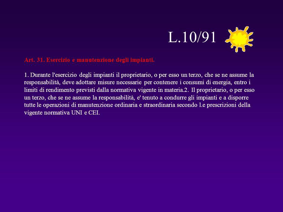 L.10/91 Art. 31. Esercizio e manutenzione degli impianti. 1. Durante l'esercizio degli impianti il proprietario, o per esso un terzo, che se ne assume