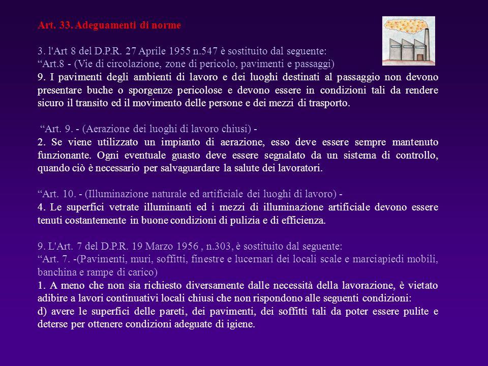Art. 33. Adeguamenti di norme 3. l'Art 8 del D.P.R. 27 Aprile 1955 n.547 è sostituito dal seguente: Art.8 - (Vie di circolazione, zone di pericolo, pa
