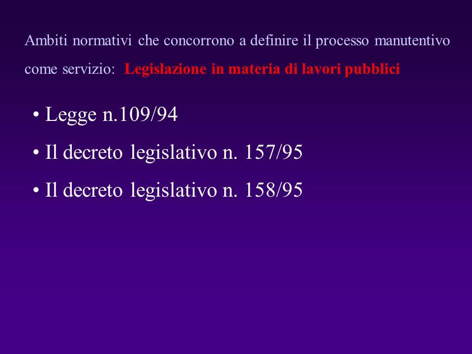 Legge n.109/94 Il decreto legislativo n. 157/95 Il decreto legislativo n. 158/95 Ambiti normativi che concorrono a definire il processo manutentivo co