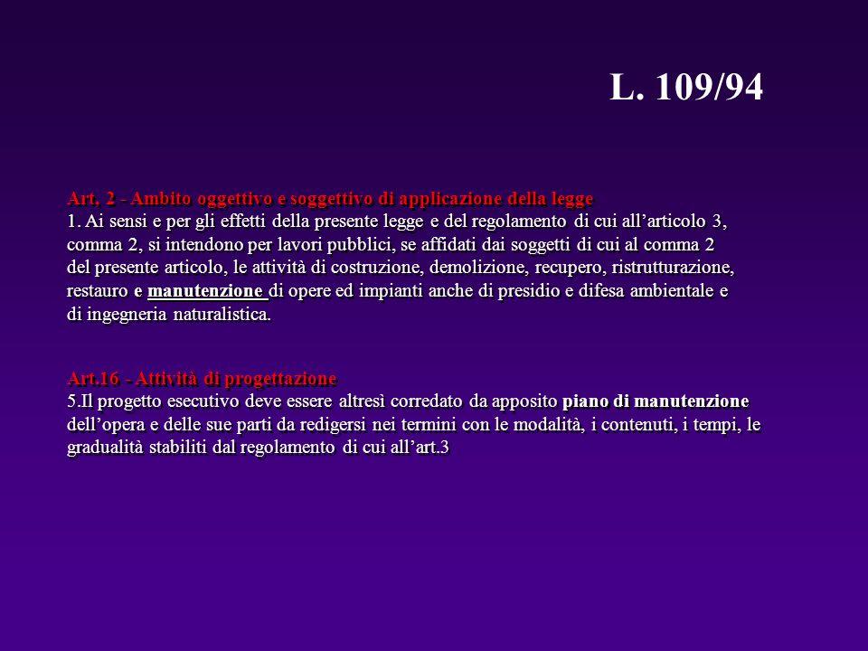 L. 109/94 Art.16 - Attività di progettazione 5.Il progetto esecutivo deve essere altresì corredato da apposito piano di manutenzione dellopera e delle