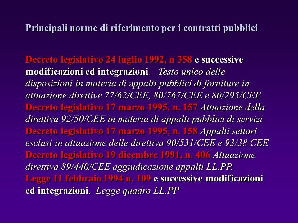 Decreto legislativo 24 luglio 1992, n 358 e successive modificazioni ed integrazioni. Testo unico delle disposizioni in materia di appalti pubblici di