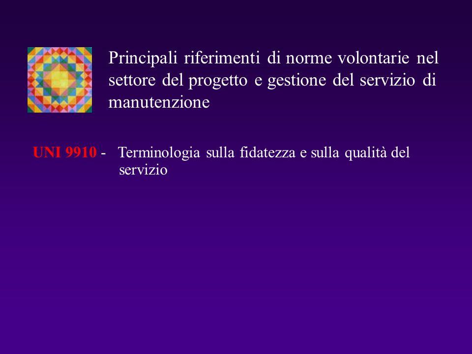 Principali riferimenti di norme volontarie nel settore del progetto e gestione del servizio di manutenzione UNI 9910 - Terminologia sulla fidatezza e