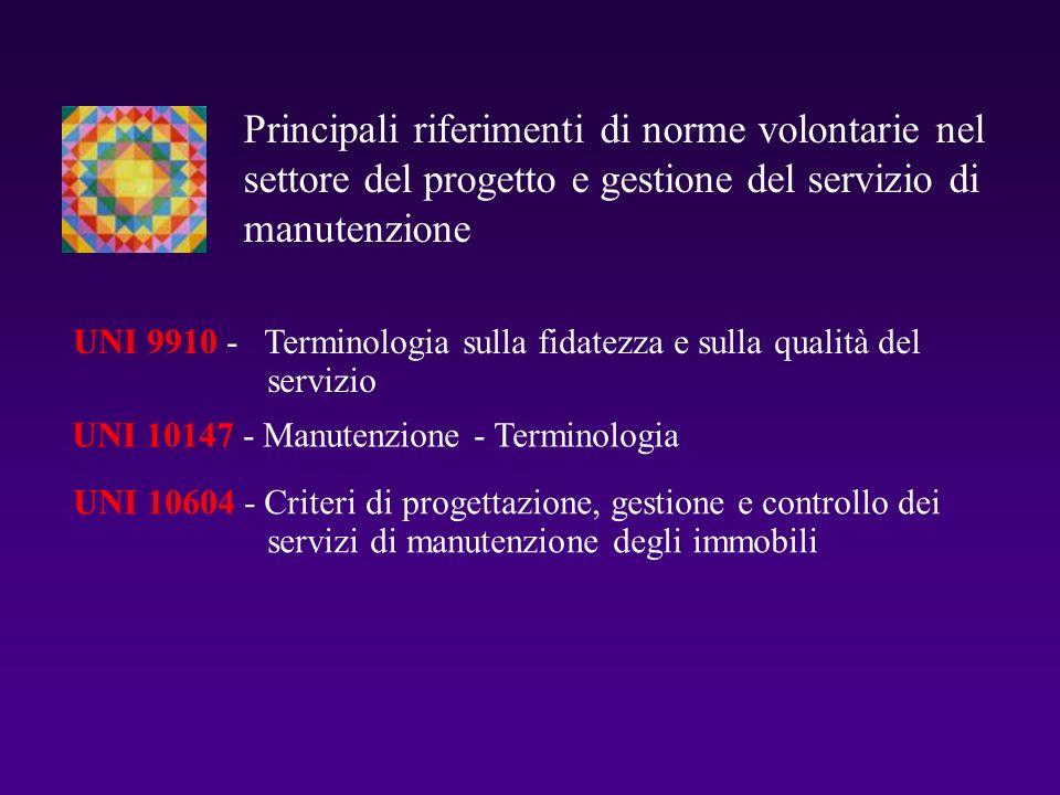 UNI 10147 - Manutenzione - Terminologia UNI 10604 - Criteri di progettazione, gestione e controllo dei servizi di manutenzione degli immobili Principa