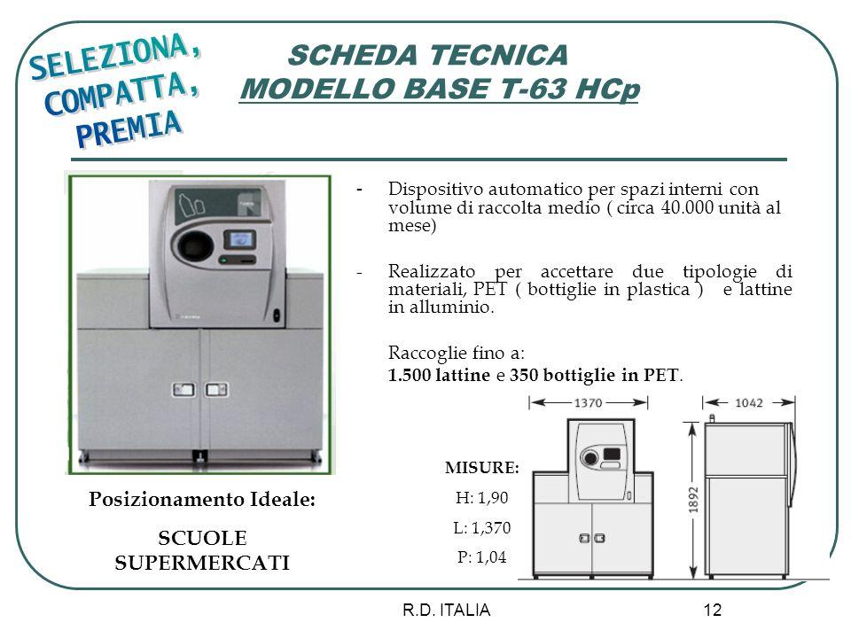 R.D. ITALIA 12 SCHEDA TECNICA MODELLO BASE T-63 HCp - Dispositivo automatico per spazi interni con volume di raccolta medio ( circa 40.000 unità al me