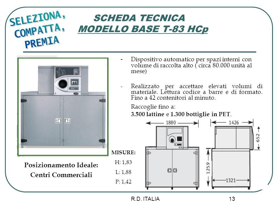 R.D. ITALIA 13 SCHEDA TECNICA MODELLO BASE T-83 HCp - Dispositivo automatico per spazi interni con volume di raccolta alto ( circa 80.000 unità al mes