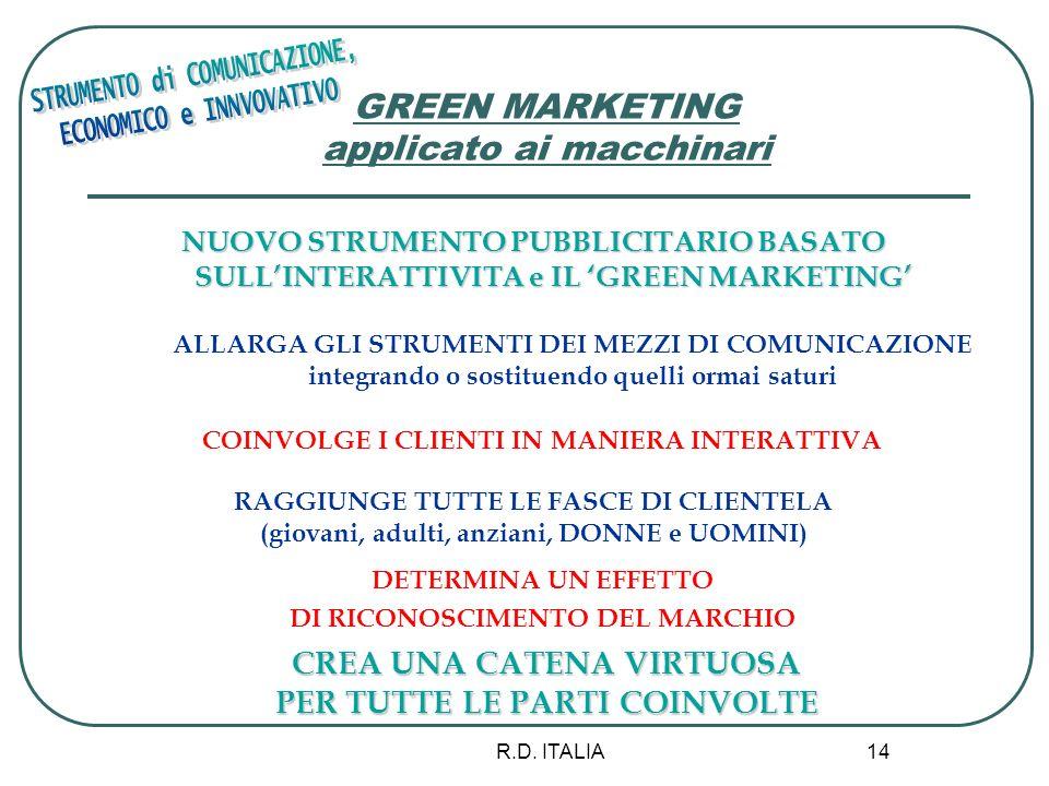 R.D. ITALIA 14 GREEN MARKETING applicato ai macchinari NUOVO STRUMENTO PUBBLICITARIO BASATO SULLINTERATTIVITA e IL GREEN MARKETING ALLARGA GLI STRUMEN