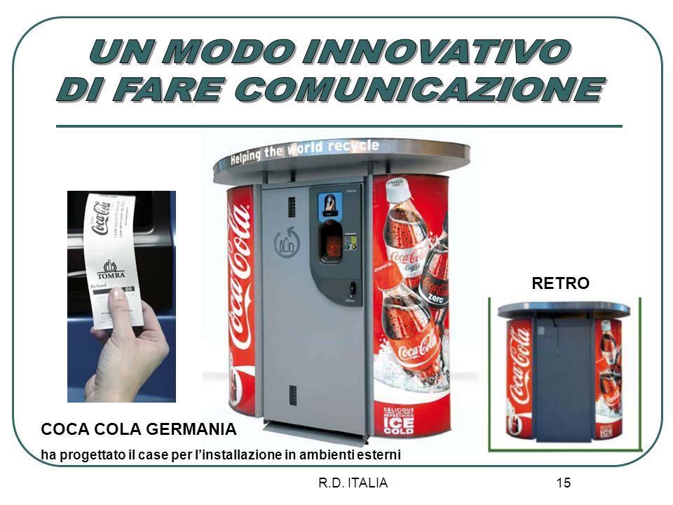 R.D. ITALIA 15 COCA COLA GERMANIA ha progettato il case per linstallazione in ambienti esterni RETRO