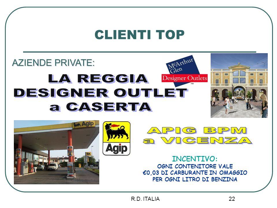 R.D. ITALIA 22 CLIENTI TOP AZIENDE PRIVATE: INCENTIVO: OGNI CONTENITORE VALE 0,03 DI CARBURANTE IN OMAGGIO PER OGNI LITRO DI BENZINA