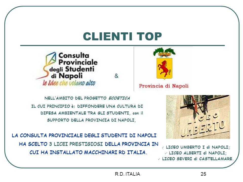 R.D. ITALIA 25 CLIENTI TOP LA CONSULTA PROVINCIALE DEGLI STUDENTI DI NAPOLI HA SCELTO 3 LICEI PRESTIGIOSI DELLA PROVINCIA IN CUI HA INSTALLATO MACCHIN