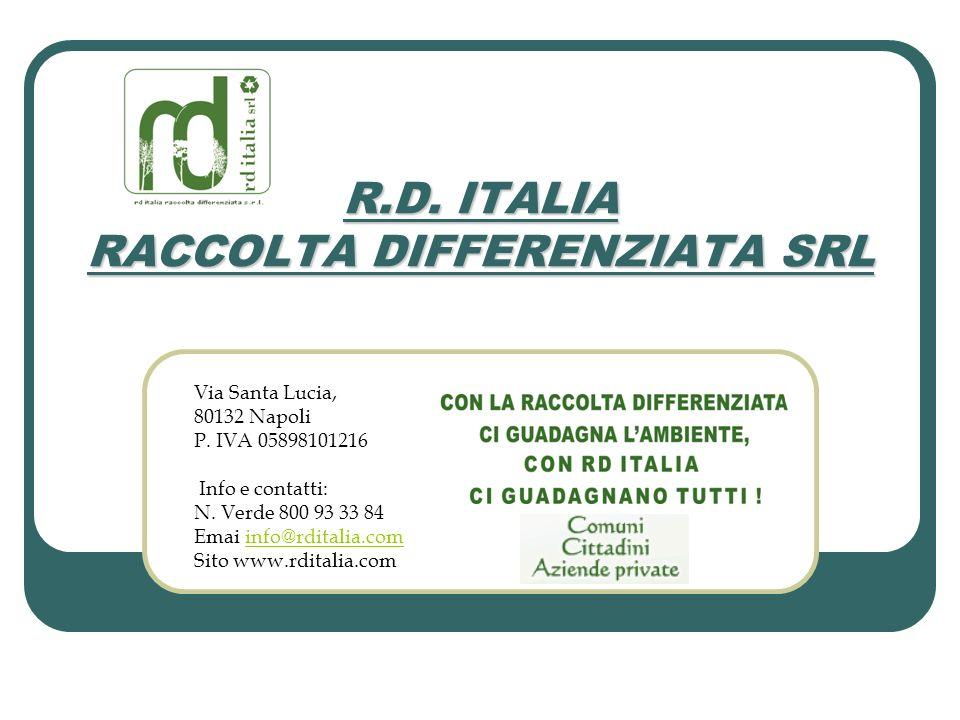 Via Santa Lucia, 80132 Napoli P. IVA 05898101216 Info e contatti: N. Verde 800 93 33 84 Emai info@rditalia.cominfo@rditalia.com Sito www.rditalia.com
