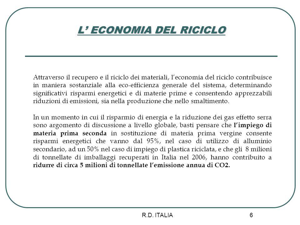 R.D. ITALIA 6 L ECONOMIA DEL RICICLO Attraverso il recupero e il riciclo dei materiali, leconomia del riciclo contribuisce in maniera sostanziale alla