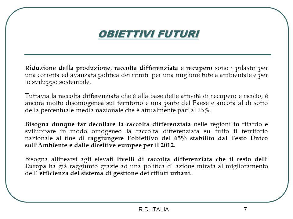 R.D. ITALIA 7 OBIETTIVI FUTURI Riduzione della produzione, raccolta differenziata e recupero sono i pilastri per una corretta ed avanzata politica dei
