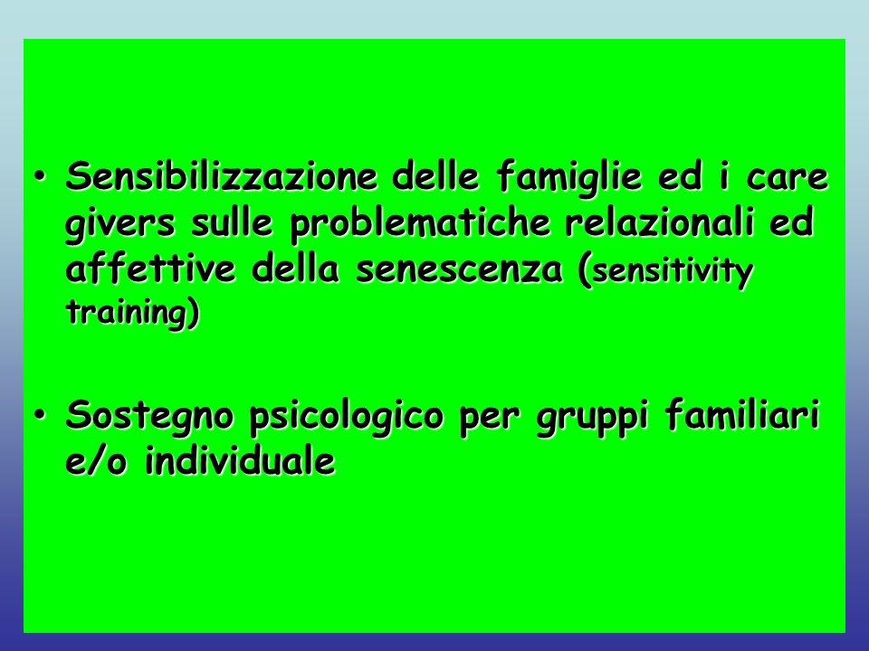 Sensibilizzazione delle famiglie ed i care givers sulle problematiche relazionali ed affettive della senescenza ( sensitivity training) Sensibilizzazi