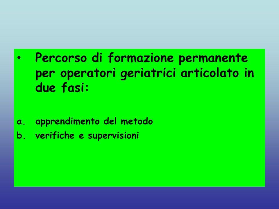 Percorso di formazione permanente per operatori geriatrici articolato in due fasi: a.apprendimento del metodo b.verifiche e supervisioni