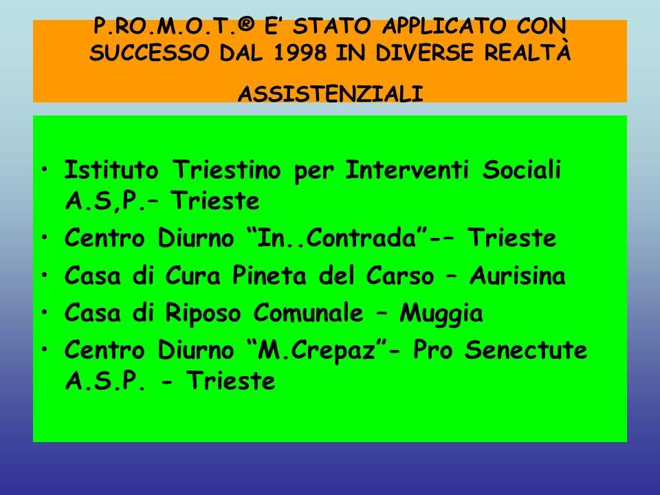 P.RO.M.O.T.® E STATO APPLICATO CON SUCCESSO DAL 1998 IN DIVERSE REALTÀ ASSISTENZIALI Istituto Triestino per Interventi Sociali A.S,P.– Trieste Centro