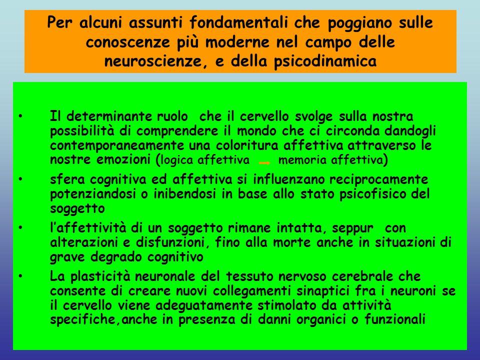 Per alcuni assunti fondamentali che poggiano sulle conoscenze più moderne nel campo delle neuroscienze, e della psicodinamica Il determinante ruolo ch