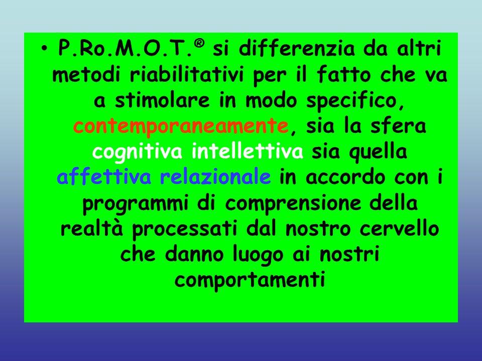 P.Ro.M.O.T. ® si differenzia da altri metodi riabilitativi per il fatto che va a stimolare in modo specifico, contemporaneamente, sia la sfera cogniti