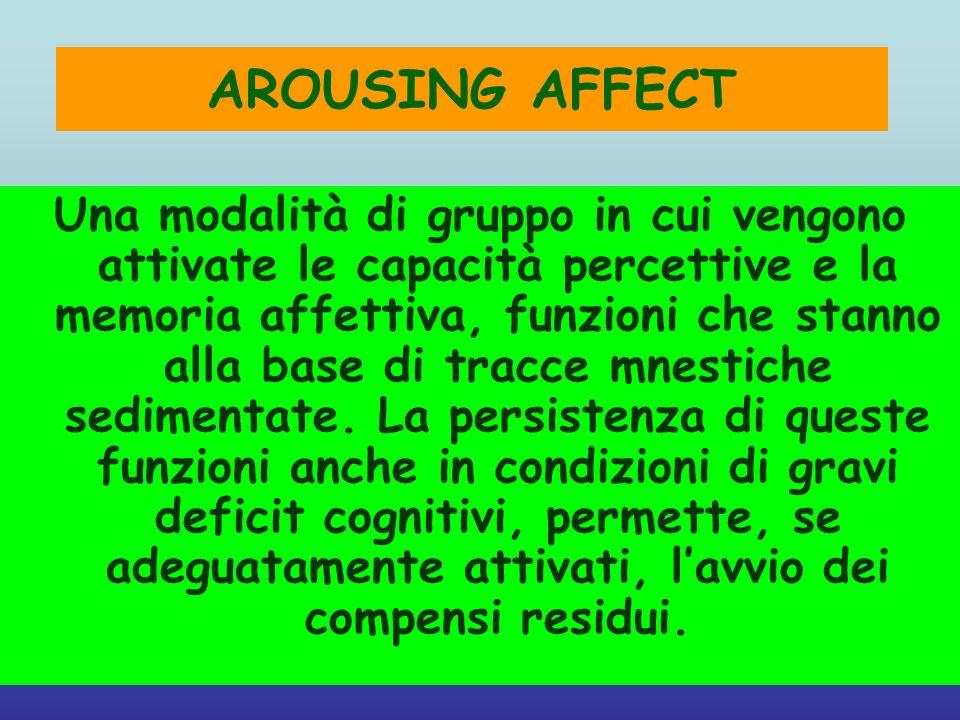 AROUSING AFFECT Una modalità di gruppo in cui vengono attivate le capacità percettive e la memoria affettiva, funzioni che stanno alla base di tracce
