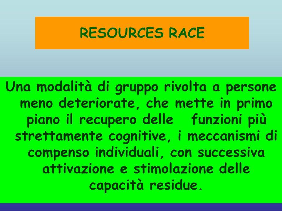 RESOURCES RACE Una modalità di gruppo rivolta a persone meno deteriorate, che mette in primo piano il recupero delle funzioni più strettamente cogniti