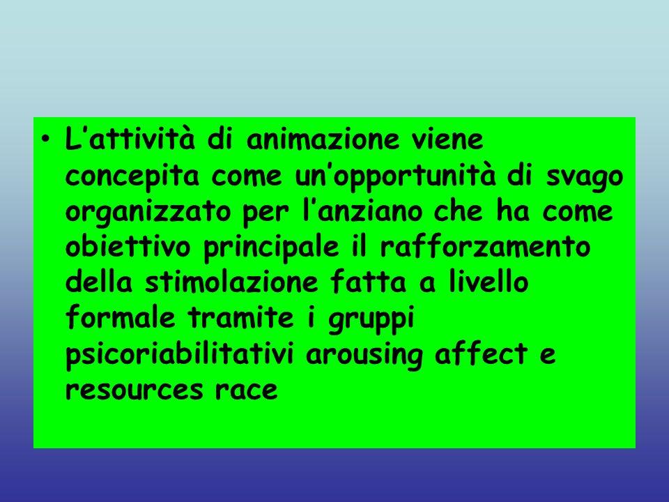 Lattività di animazione viene concepita come unopportunità di svago organizzato per lanziano che ha come obiettivo principale il rafforzamento della s