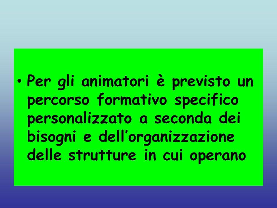 Per gli animatori è previsto un percorso formativo specifico personalizzato a seconda dei bisogni e dellorganizzazione delle strutture in cui operano