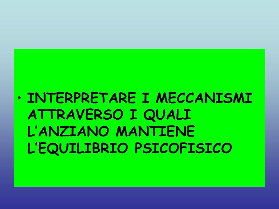 La stimolazione psicofisica crea la funzione intellettiva Funzioni cerebrali residue, se adeguatamente stimolate, vanno a compensare quelle perdute Il ruolo dei meccanismi di difesa nel mantenimento dellomeostasi delleconomia psichica ed il fatto che sia possibile agire su di essi per riequilibrala in caso di scompensi La centralità delle relazioni oggettuali* nel mantenimento di un rapporto stabile con lambiente che ci circonda, in particolare le persone(chi sei?che cosa mi rappresenti?) Il ruolo strategico dellinvestimento affettivo nel ristabilire relazioni significative con gli oggetti e le persone che ci stanno accanto *per relazione oggettuale si intende la modalità attraverso la quale ogni soggetto si relaziona al mondo che lo circonda,oggetti inanimati o persone