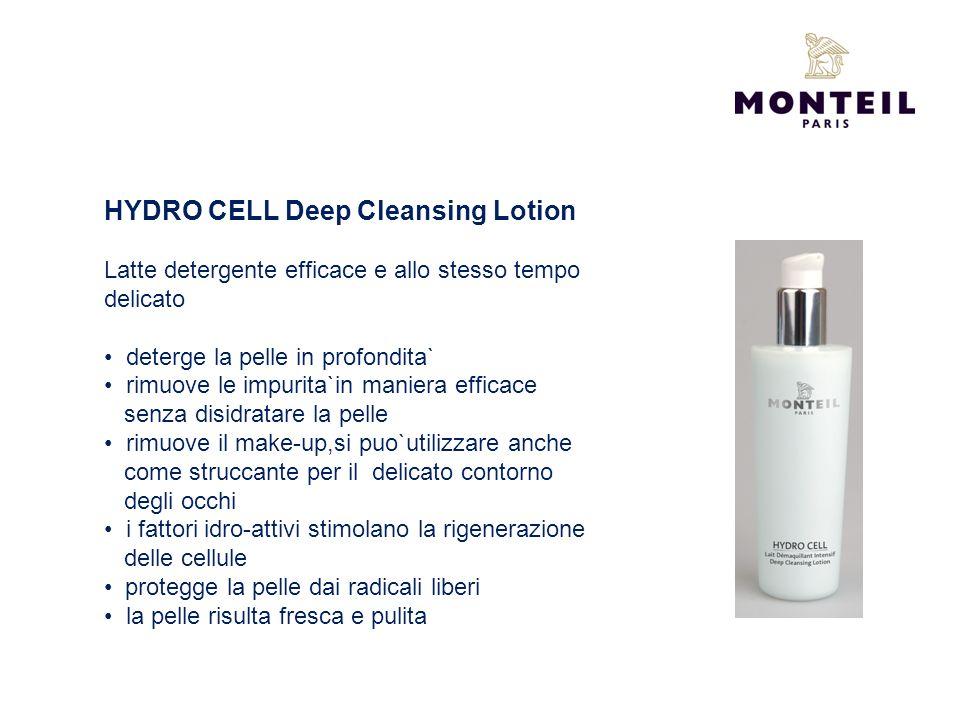 HYDRO CELL Deep Cleansing Lotion Latte detergente efficace e allo stesso tempo delicato deterge la pelle in profondita` rimuove le impurita`in maniera