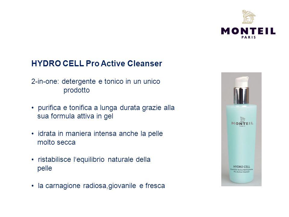 HYDRO CELL Pro Active Cleanser 2-in-one: detergente e tonico in un unico prodotto purifica e tonifica a lunga durata grazie alla sua formula attiva in