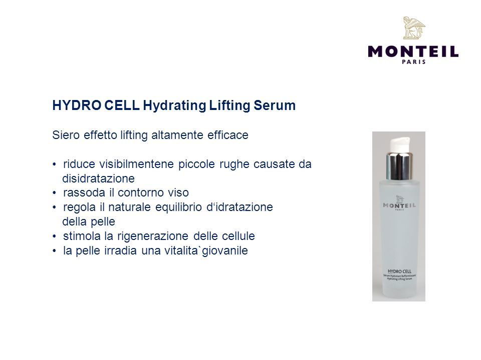 HYDRO CELL Hydrating Lifting Serum Siero effetto lifting altamente efficace riduce visibilmentene piccole rughe causate da disidratazione rassoda il c