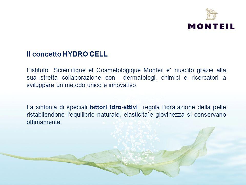 Il concetto HYDRO CELL L istituto Scientifique et Cosmetologique Monteil e´ riuscito grazie alla sua stretta collaborazione con dermatologi, chimici e