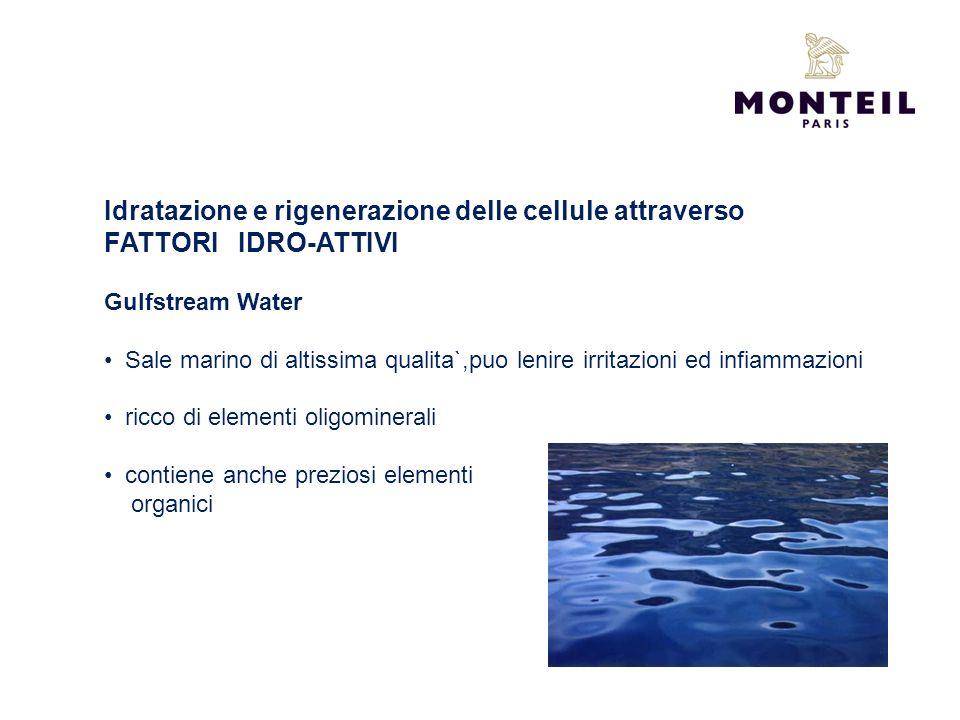 Idratazione e rigenerazione delle cellule attraverso FATTORI IDRO-ATTIVI Gulfstream Water Sale marino di altissima qualita`,puo lenire irritazioni ed
