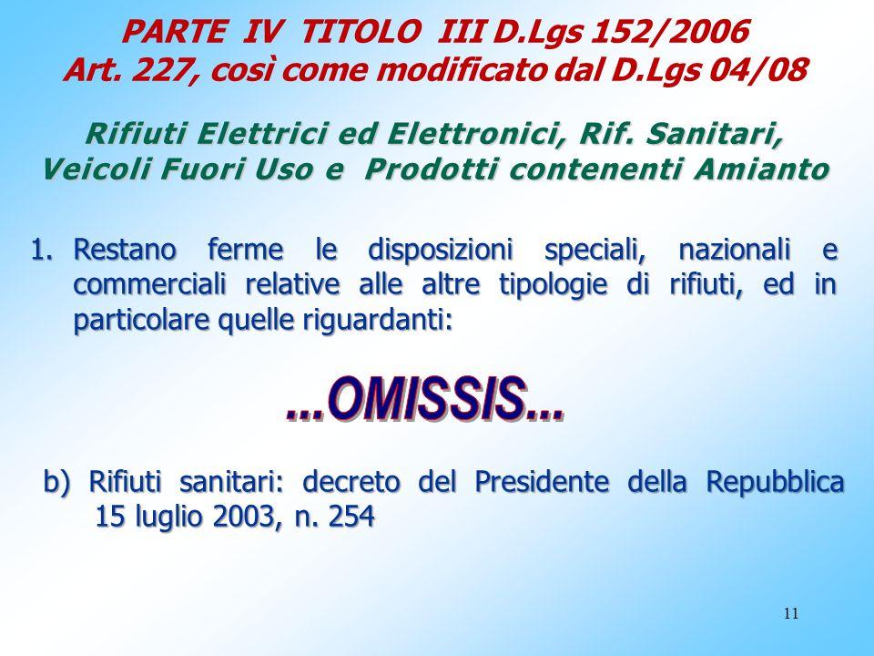 11 PARTE IV TITOLO III D.Lgs 152/2006 Art. 227, così come modificato dal D.Lgs 04/08 Rifiuti Elettrici ed Elettronici, Rif. Sanitari, Veicoli Fuori Us
