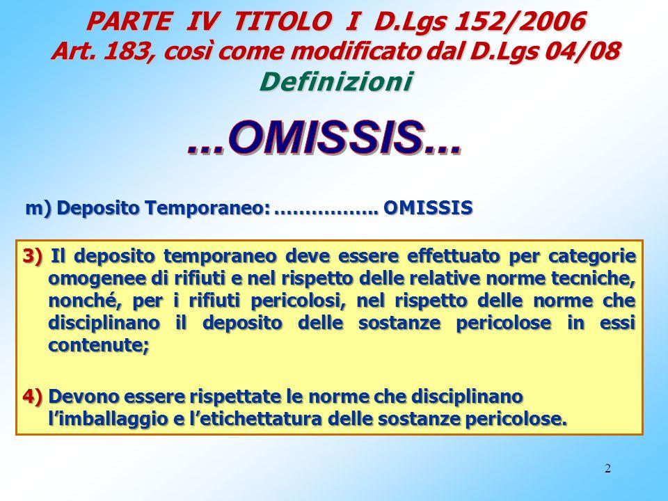 2 PARTE IV TITOLO I D.Lgs 152/2006 Art. 183, così come modificato dal D.Lgs 04/08 Definizioni m) Deposito Temporaneo: …………….. OMISSIS 3) Il deposito t