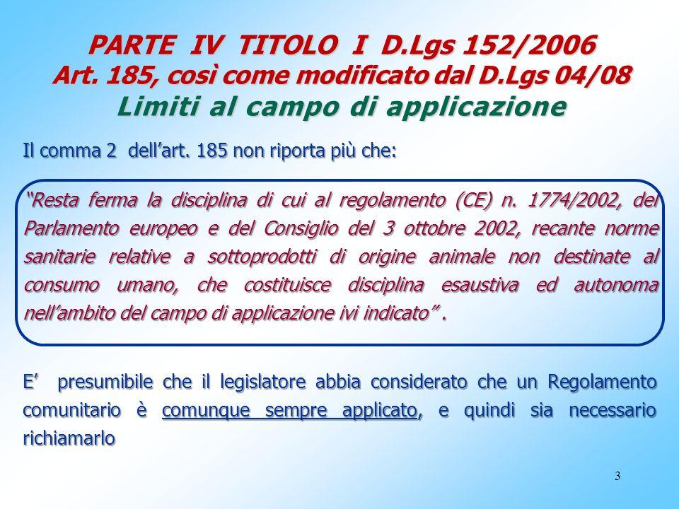 3 PARTE IV TITOLO I D.Lgs 152/2006 Art. 185, così come modificato dal D.Lgs 04/08 Limiti al campo di applicazione Il comma 2 dellart. 185 non riporta