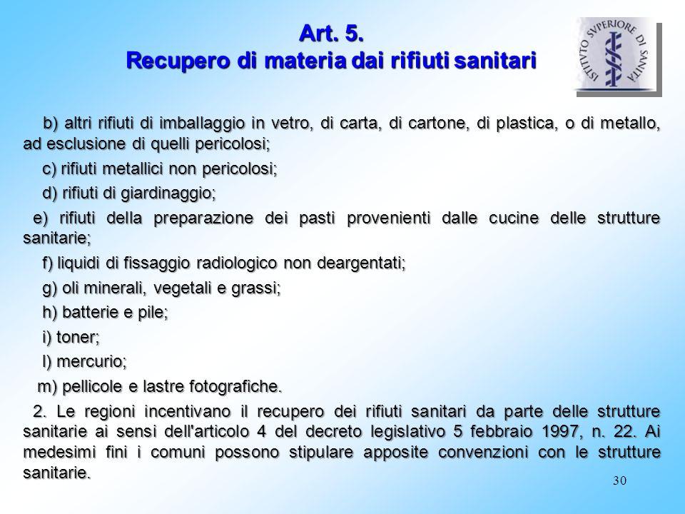 30 b) altri rifiuti di imballaggio in vetro, di carta, di cartone, di plastica, o di metallo, ad esclusione di quelli pericolosi; b) altri rifiuti di