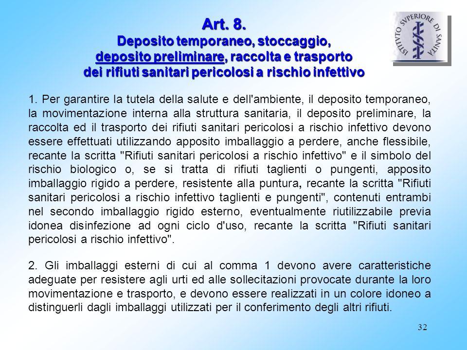 32 Art. 8. Deposito temporaneo, stoccaggio, deposito preliminare, raccolta e trasporto dei rifiuti sanitari pericolosi a rischio infettivo 1. Per gara