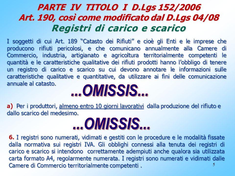 5 PARTE IV TITOLO I D.Lgs 152/2006 Art. 190, così come modificato dal D.Lgs 04/08 Registri di carico e scarico I soggetti di cui Art. 189 Catasto dei