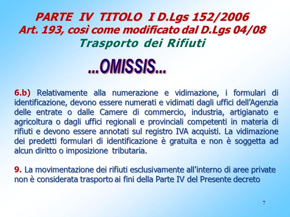 7 PARTE IV TITOLO I D.Lgs 152/2006 Art. 193, così come modificato dal D.Lgs 04/08 PARTE IV TITOLO I D.Lgs 152/2006 Art. 193, così come modificato dal