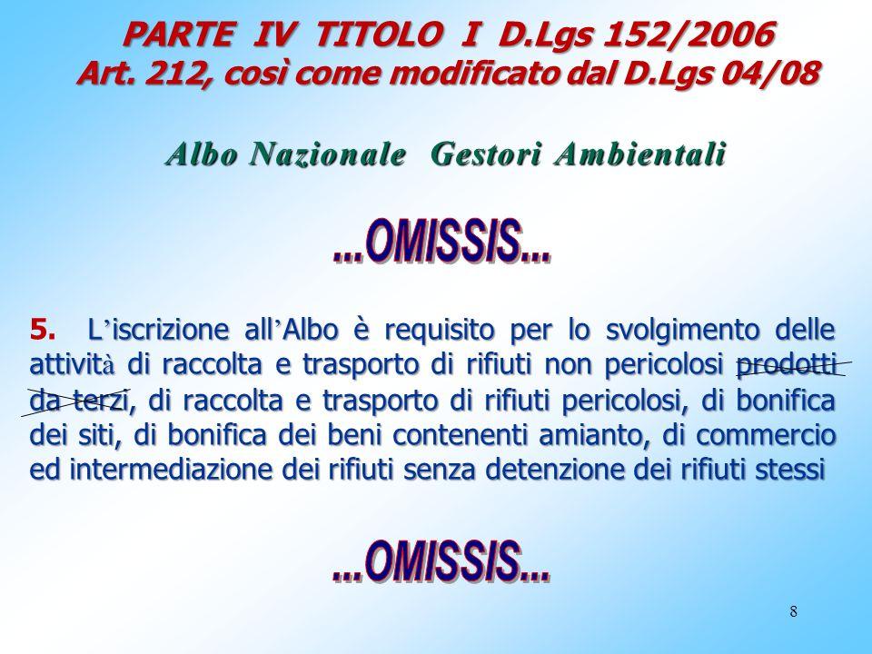 8 PARTE IV TITOLO I D.Lgs 152/2006 Art. 212, così come modificato dal D.Lgs 04/08 Albo Nazionale Gestori Ambientali L iscrizione all Albo è requisito
