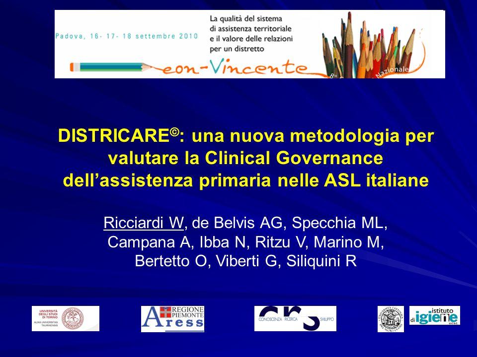 DISTRICARE © : una nuova metodologia per valutare la Clinical Governance dellassistenza primaria nelle ASL italiane Ricciardi W, de Belvis AG, Specchi